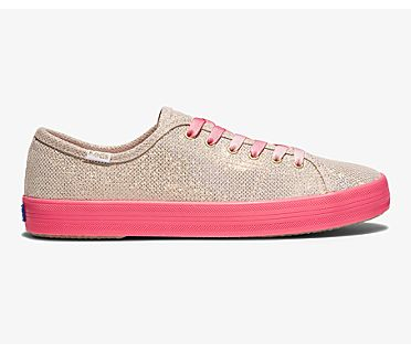 Keds x Oh Joy! Kickstart Neon Foxing Iridescent Leather, Gold, dynamic