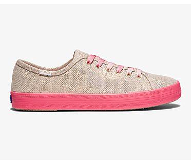 Keds x Oh Joy! Kickstart Neon Foxing Iridescent Leather, Gold, dynamic