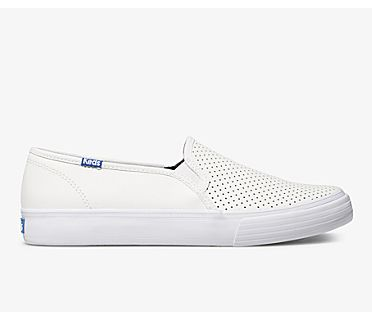 Double Decker Perf Leather, White, dynamic