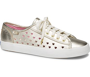 Keds x kate spade new york Kickstart Heart Perf Leather, Gold, dynamic