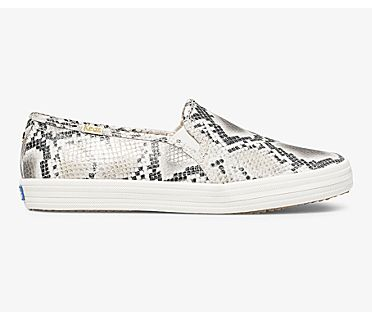 Keds x kate spade new york Double Decker Snake Leather, Cream Black, dynamic