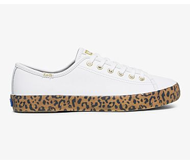 Kickstart Leather Leopard Foxing, White Tan, dynamic