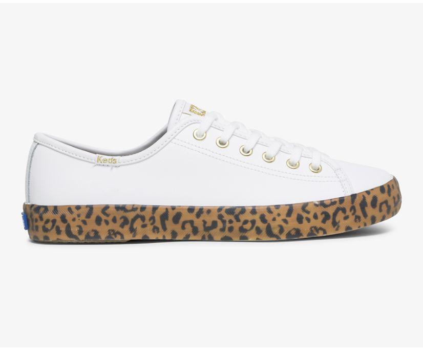 Kickstart Leather Leopard Foxing, White Tan, dynamic