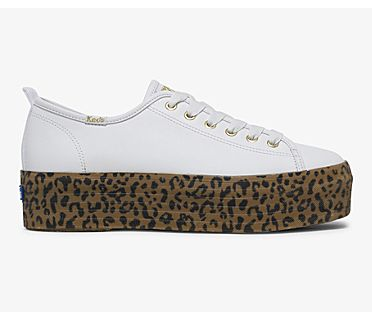 Keds x Wonder Woman Triple Up Leather, White Leopard, dynamic