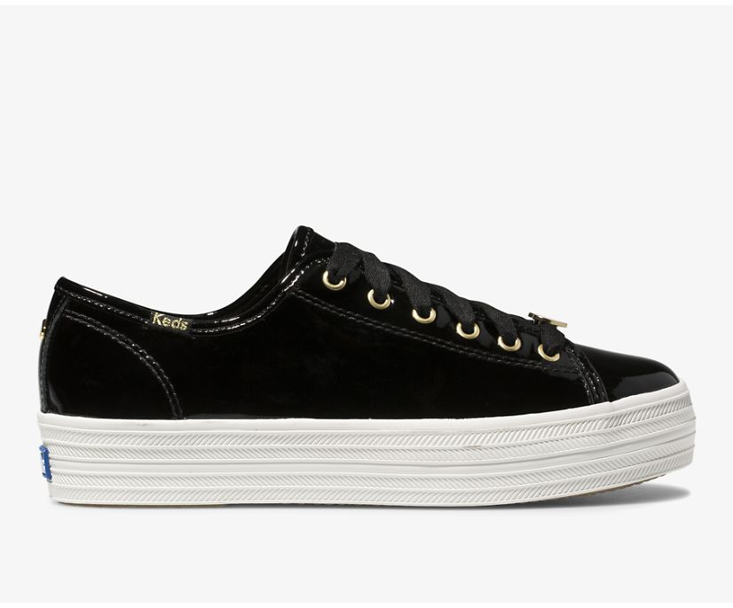 Keds x kate spade new york Triple Kick Patent Leather, Black, dynamic