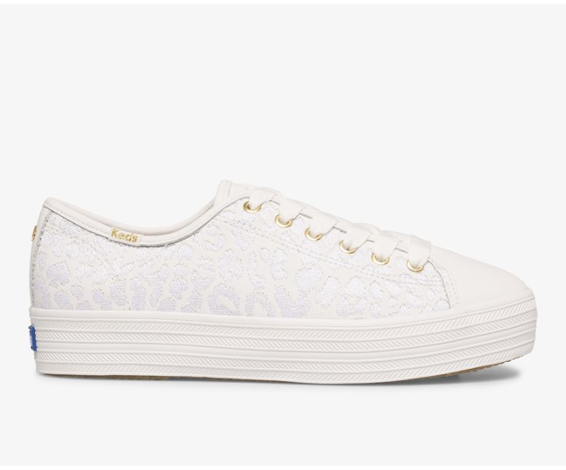Keds x kate spade new york Triple Kick Embroidered Leopard Leather, White, dynamic