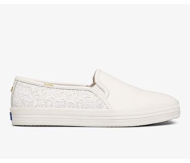 Keds x kate spade new york Double Decker Embroidered Leopard Leather, White, dynamic