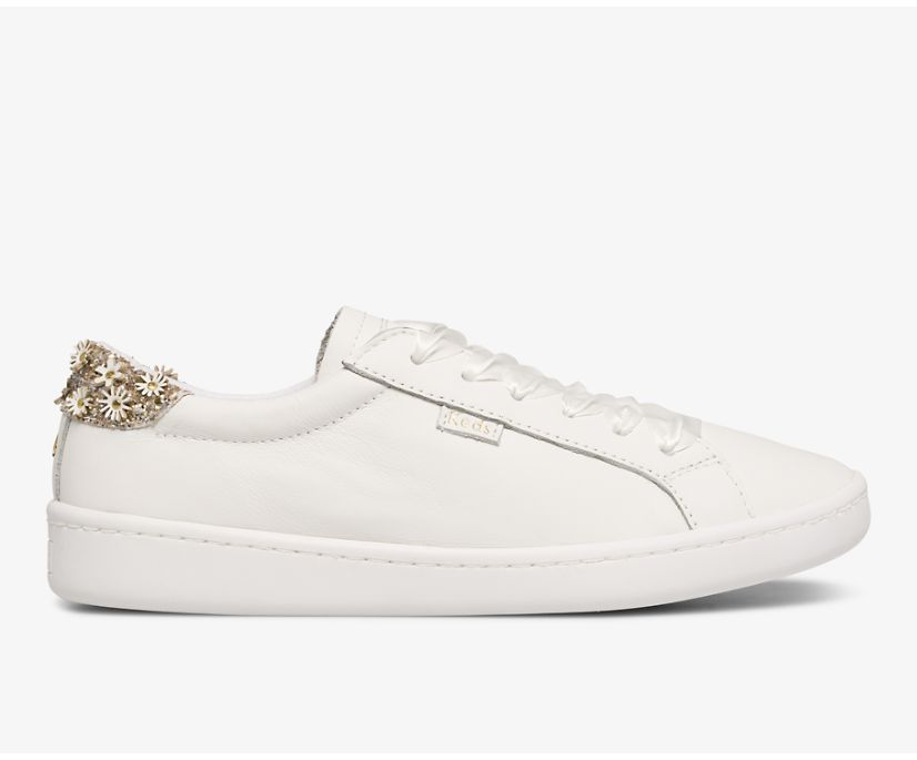 Keds x kate spade new york Ace Flower Applique, White Leather, dynamic