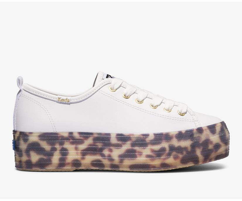 Triple Up Leather Tortoise Foxing, White, dynamic