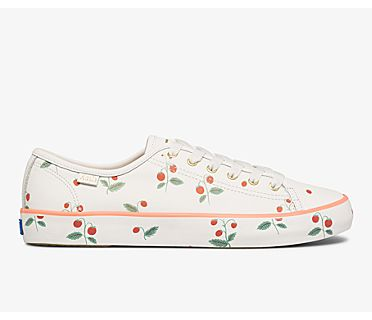 Keds x Rifle Paper Co. Kickstart Mini Strawberries, White, dynamic