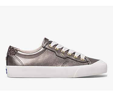 Keds x kate spade new york Crew Kick 75 Shimmer Leather, Pewter, dynamic