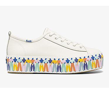 Triple Up Leather Rainbow People, White Multi, dynamic