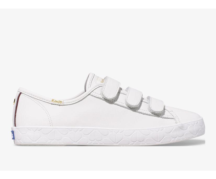 Keds x kate spade new york Tiebreak Leather Logo Foxing, White, dynamic