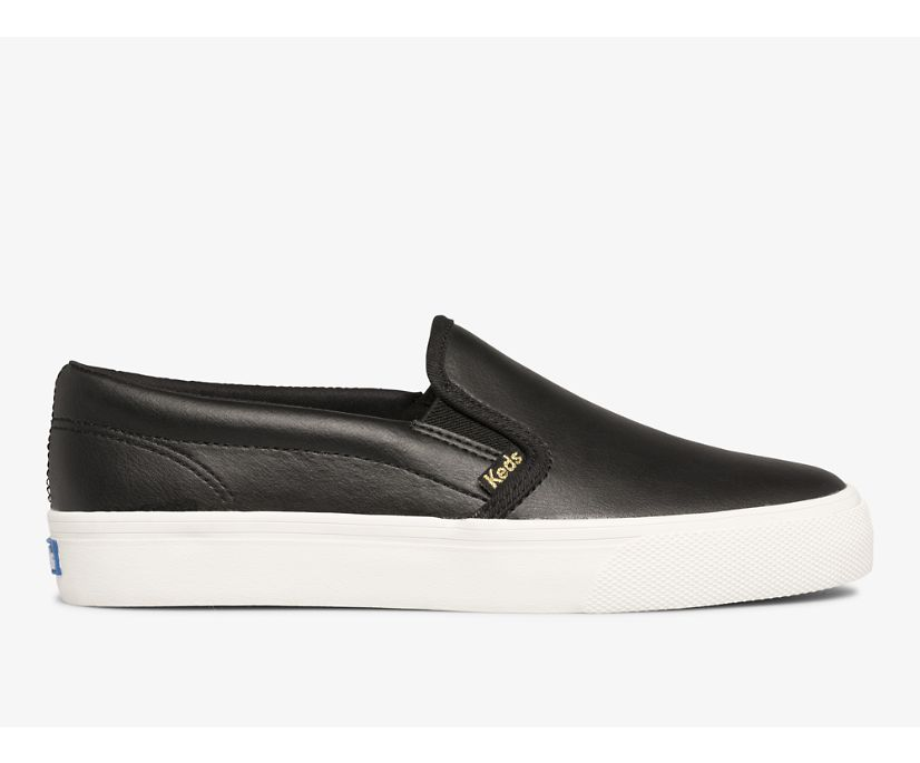 Jump Kick Slip Leather, Black, dynamic