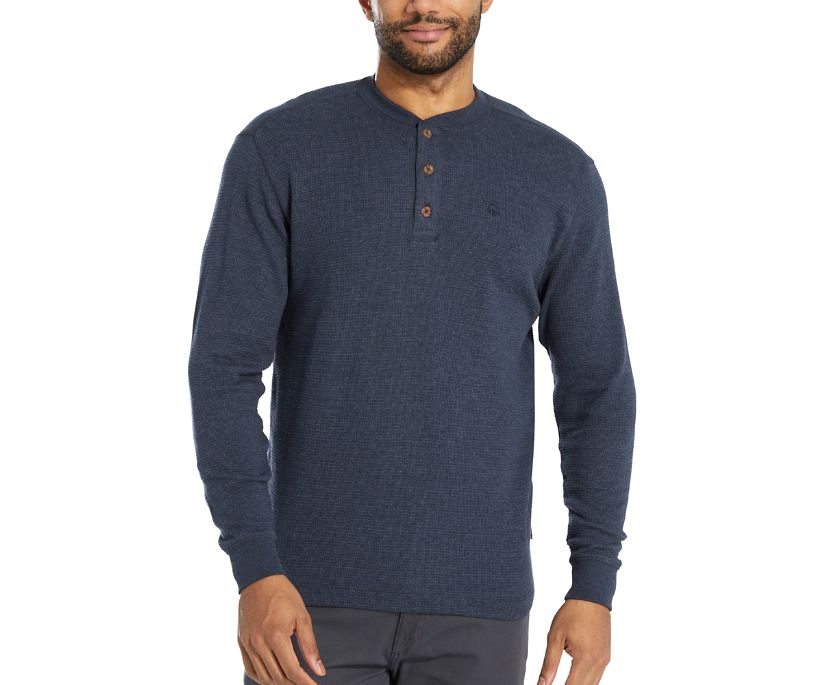 Walden Long Sleeve Henley (Big & Tall), Navy Heather, dynamic