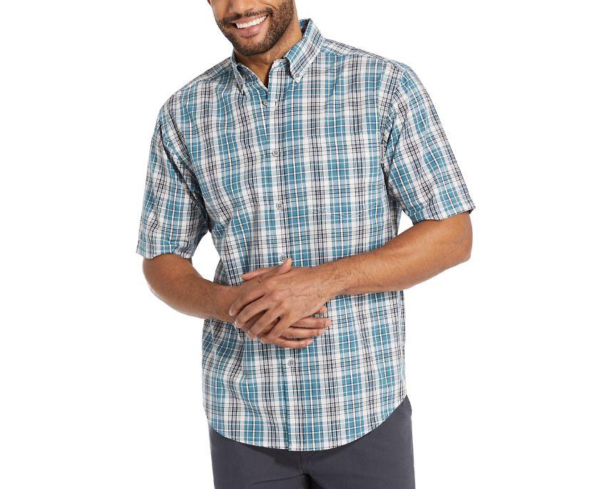 Mortar Short Sleeve Shirt, Stellar Blue Plaid, dynamic