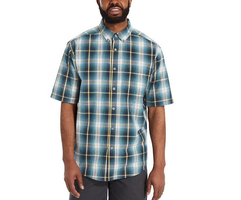 Mortar Short Sleeve Shirt, Ink Blue Plaid, dynamic