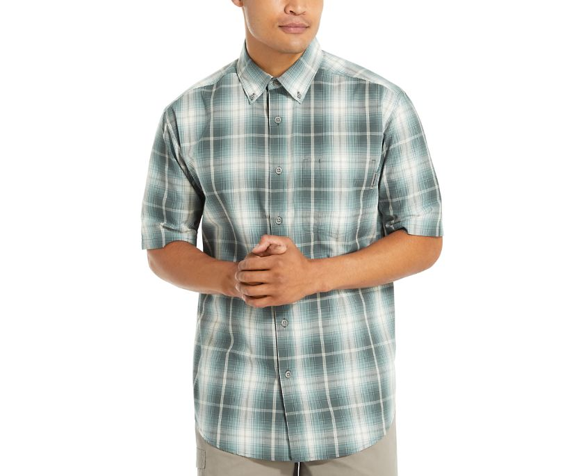 Mortar Short Sleeve Shirt (Big & Tall), Dark Slate Plaid, dynamic