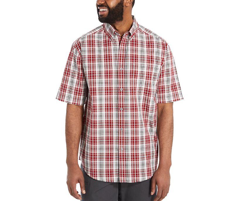 Mortar Short Sleeve Shirt, Dark Brick Plaid, dynamic