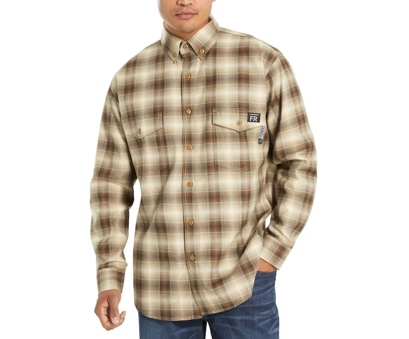 FR Plaid Long Sleeve Twill Shirt - 3X, Khaki Plaid, dynamic