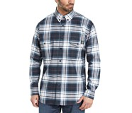 FR Plaid Long Sleeve Twill Shirt, Navy Plaid, dynamic