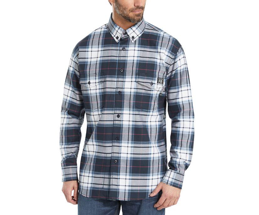 FR Plaid Long Sleeve Twill Shirt - 3X, Navy Plaid, dynamic