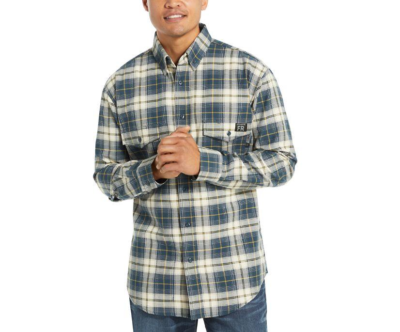 FR Plaid Long Sleeve Twill Shirt, Dark Navy Plaid, dynamic