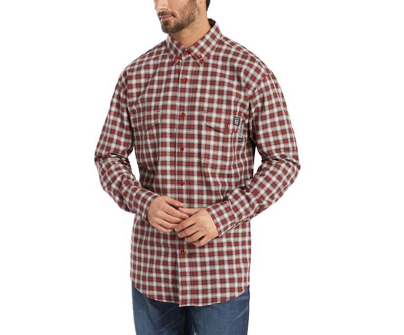 FR Plaid Long Sleeve Twill Shirt, Dark Red Plaid, dynamic