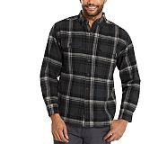 Glacier Heavyweight Long Sleeve Flannel Shirt, Charcoal Plaid, dynamic