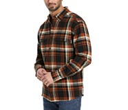 Glacier Heavyweight Long Sleeve Flannel Shirt, Mahogany Plaid, dynamic