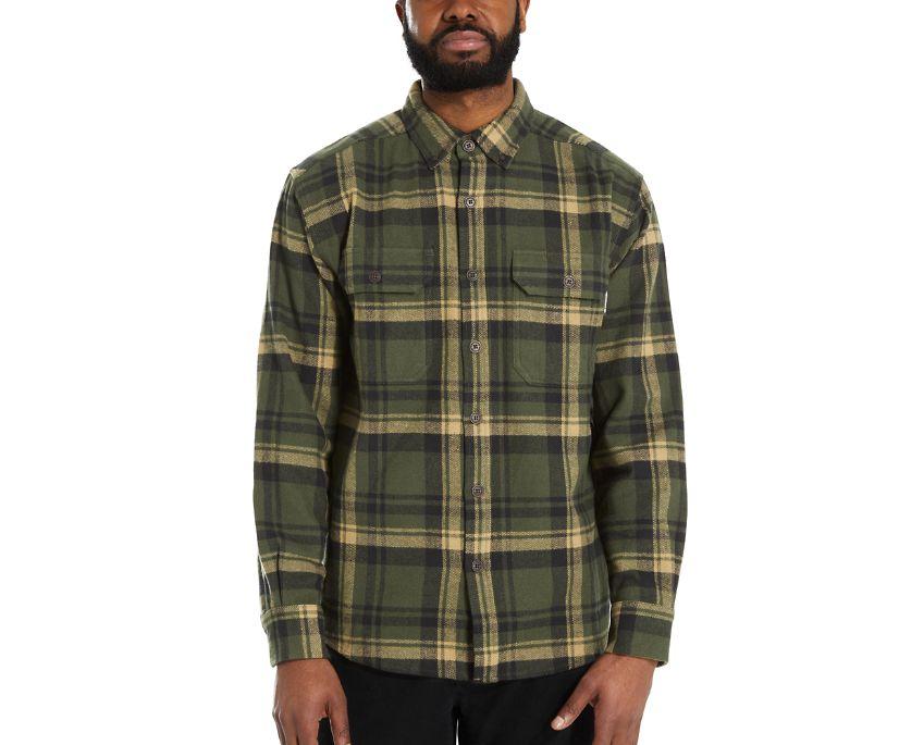 Glacier Heavyweight Long Sleeve Flannel Shirt, Forest Plaid, dynamic