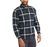 Glacier Heavyweight Long Sleeve Flannel Shirt, Blue Plaid, dynamic