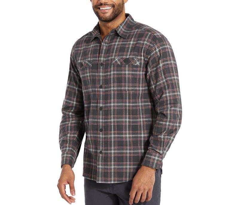 Grayson Stretch Flannel Shirt, Charcoal Plaid, dynamic