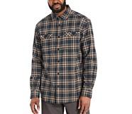 Grayson Stretch Flannel Shirt, Dark Blue Plaid, dynamic