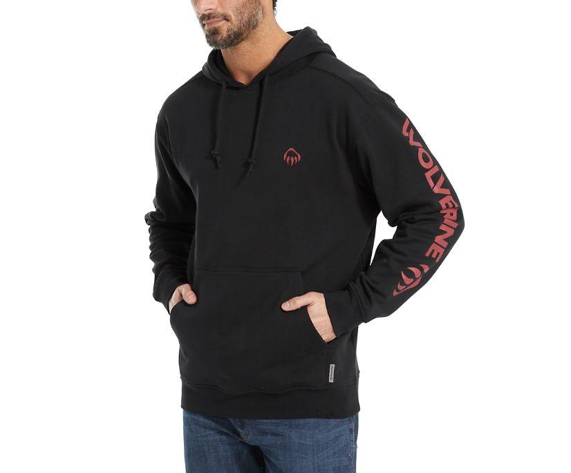Graphic Hoody- Sleeve Logo, Black, dynamic