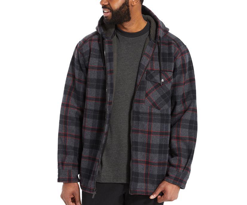 Bucksaw Sherpa Shirt Jac, Black Plaid, dynamic