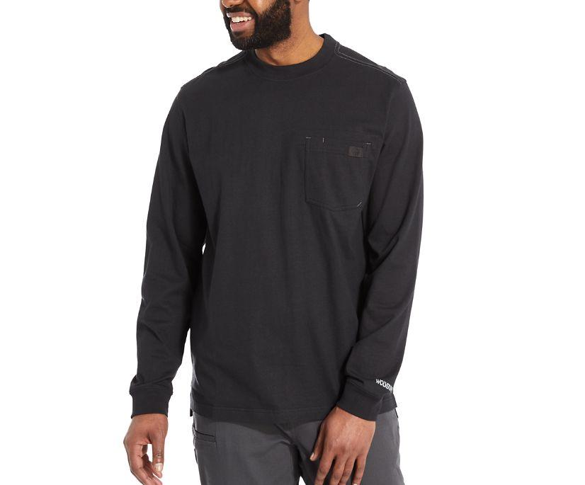 Guardian Cotton™ Long Sleeve Pocket Tee, Black, dynamic