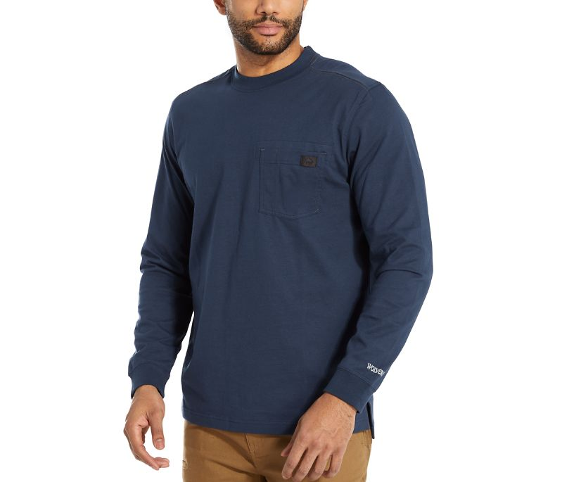 Guardian Cotton™ Long Sleeve Pocket Tee, Navy, dynamic