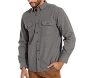 Glacier Midweight Long Sleeve Flannel Shirt, Charcoal Heather, dynamic