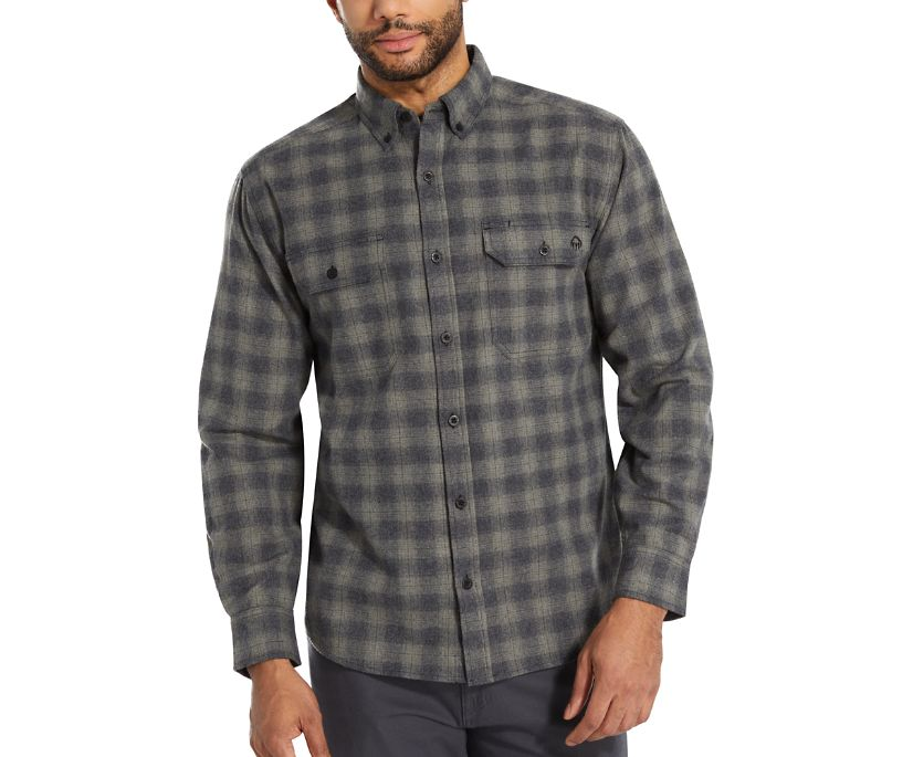 Glacier Midweight Long Sleeve Flannel Shirt (Big & Tall), Charcoal Heather, dynamic