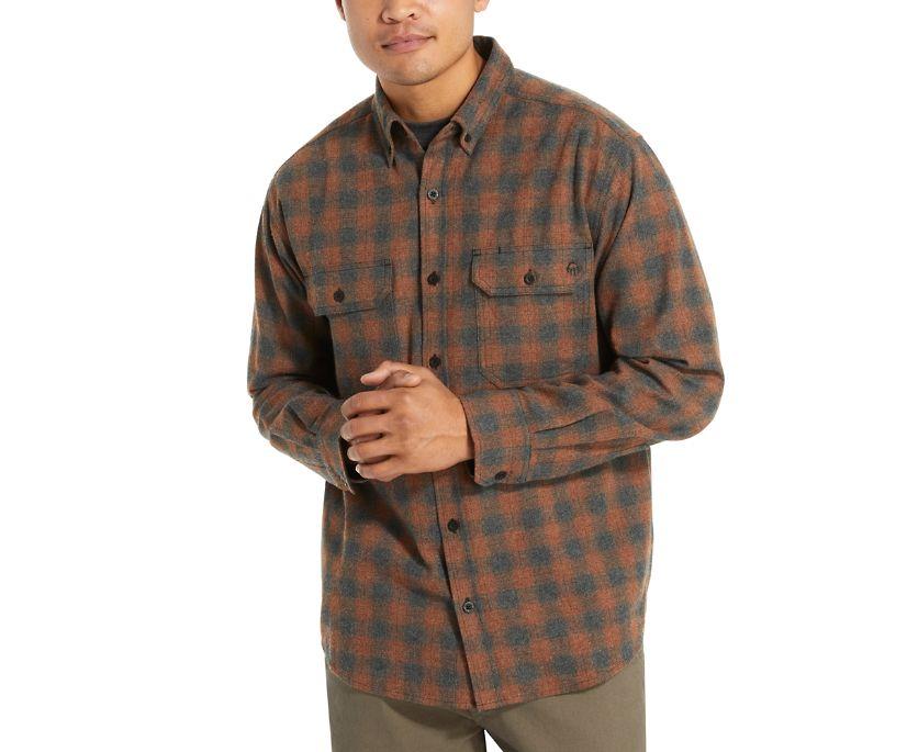 Glacier Midweight Long Sleeve Flannel Shirt (Big & Tall), Mahogany Plaid, dynamic