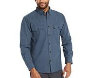 Glacier Midweight Long Sleeve Flannel Shirt (Big & Tall), Navy Heather, dynamic