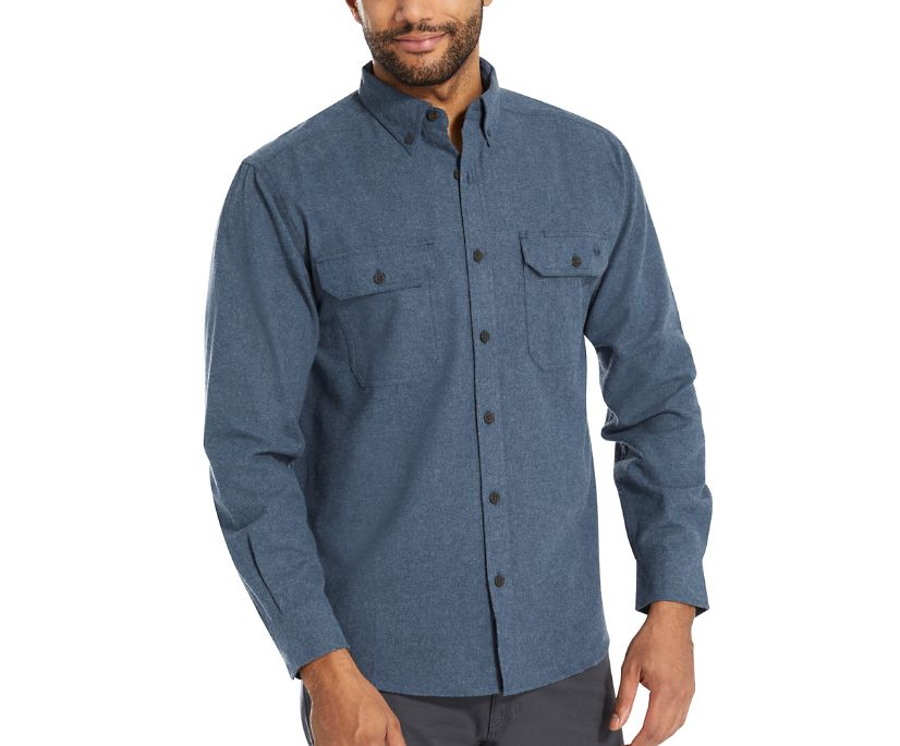 Glacier Midweight Long Sleeve Flannel Shirt, Navy Heather, dynamic