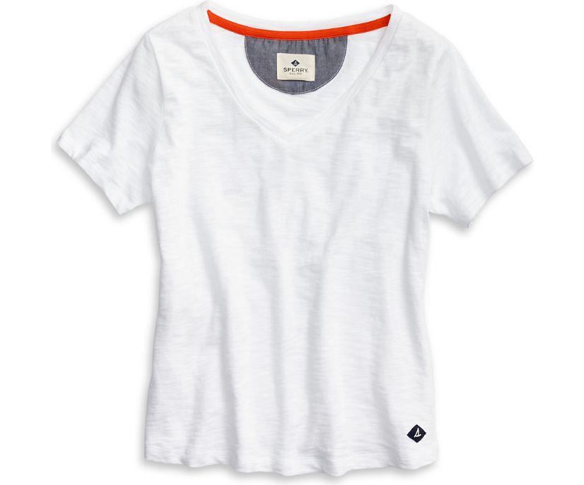V-Neck T-Shirt, White, dynamic