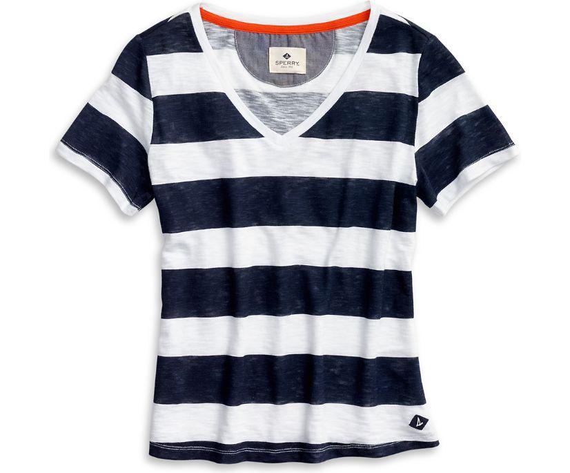 V-Neck T-Shirt, Navy/White, dynamic