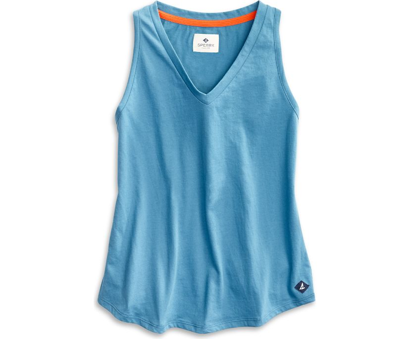 V-Neck Tank Top, Blue, dynamic
