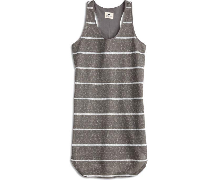 Racerback Slub Tank Dress, Grey/White, dynamic