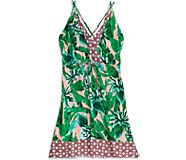 Tropical Palm Print Cover Up Dress, Multi, dynamic