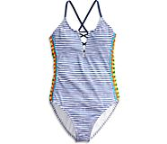 Caribbean Sunset One Piece Swimsuit, Navy Multi, dynamic