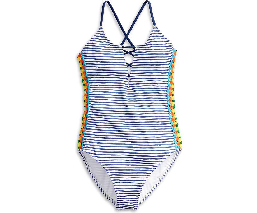Caribbean Sunset One Piece Swimsuit, Navy Multi, dynamic